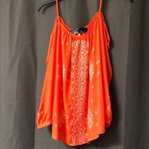 Medium Orange & White off the shoulder Blouse